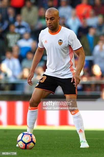 Aymen Abdennour of Valencia in action during the La Liga match between Valencia CF and Deportivo de La Coruna at Mestalla Stadium on April 2 2017 in...