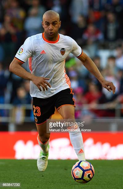 Aymen Abdennour of Valencia runs with the ball during the La Liga match between Valencia CF and Deportivo de La Coruna at Mestalla Stadium on April 2...