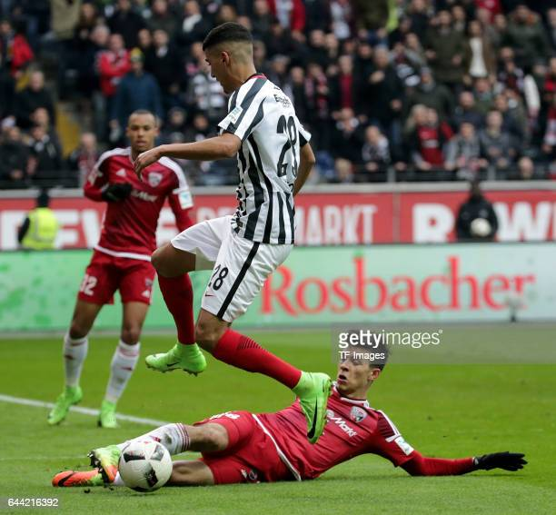 Aymen Barkok of Frankfurt and Alfredo Morales of Ingolstadt battle for the ball during the Bundesliga match between Eintracht Frankfurt and FC...