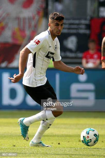 Aymen Barkok of Frankfurt controls the ball during the Bundesliga match between Eintracht Frankfurt and Hertha BSC at CommerzbankArena on April 21...