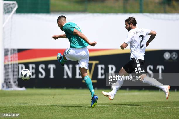 Aymen Barkok of Germany U20's and Marvin Plattenhardt of Germany during a Germany v Germany U20 test match at German national team training camp on...