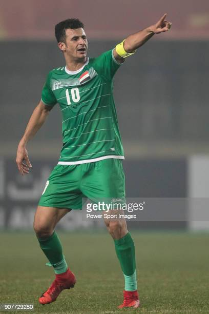 Aymen Hussein of Iraq gestures during the AFC U23 Championship China 2018 Group C match between Iraq and Jordan at Changshu Sports Center on 16...