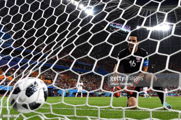 Aymen Mathlouthi of Tunisia shows his dejection following Panama's first goal during the 2018 FIFA World Cup Russia group G match between Panama and...