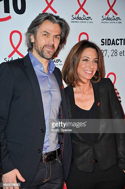 Aymeric Caron and Virginie Guilhaume attend the Sidaction 2015 at Musee du Quai Branly on March 2 2015 in Paris France