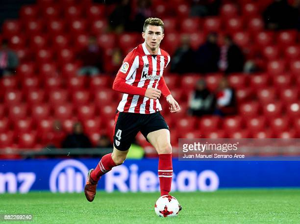 Aymeric Laporte of Athletic Club controls the ball during the Copa del Rey Round of 32 Second Leg match between Athletic Club and SD Formentera at...
