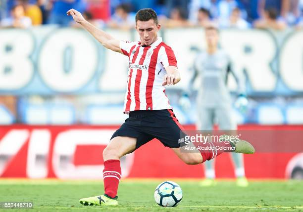 Aymeric Laporte of Athletic Club looks on during the La Liga match between Malaga and Athletic Club at Estadio La Rosaleda on September 23 2017 in...