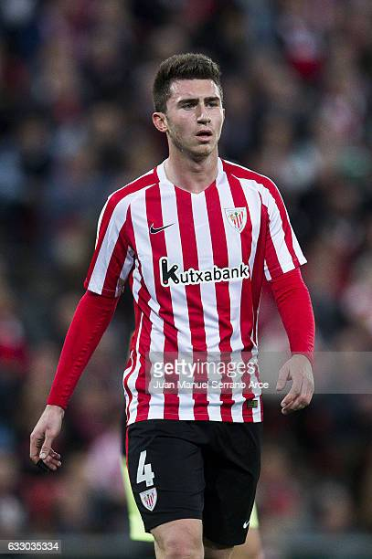 Aymeric Laporte of Athletic Club reacts during the La Liga match between Athletic Club Bilbao and Real Sporting de Gijon at San Mames Stadium on...