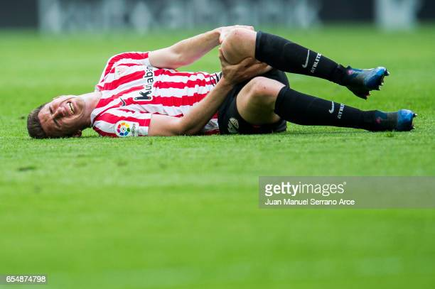 Aymeric Laporte of Athletic Club reacts during the La Liga match between Athletic Club Bilbao and Real Madrid at San Mames Stadium on March 18 2017...