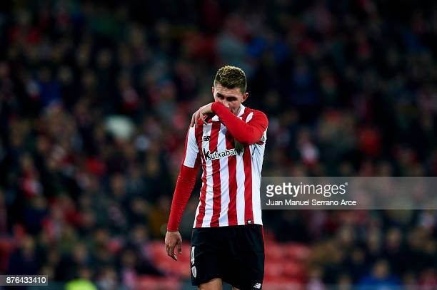 Aymeric Laporte of Athletic Club reacts during the La Liga match between Athletic Club Bilbao and Villarreal CF at San Mames Stadium on November 19...