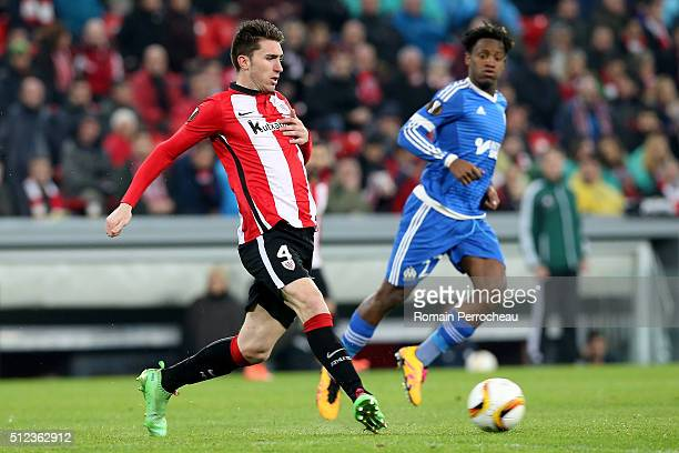 Aymeric Laporte of Bilbao in action during the UEFA Europa League Football round of 32 second leg match between Athletic Bilbao and Olympique de...
