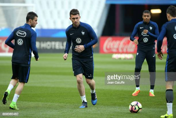 Aymeric Laporte of France during the training session on the eve of the international friendly match between France and Spain at Stade de France on...