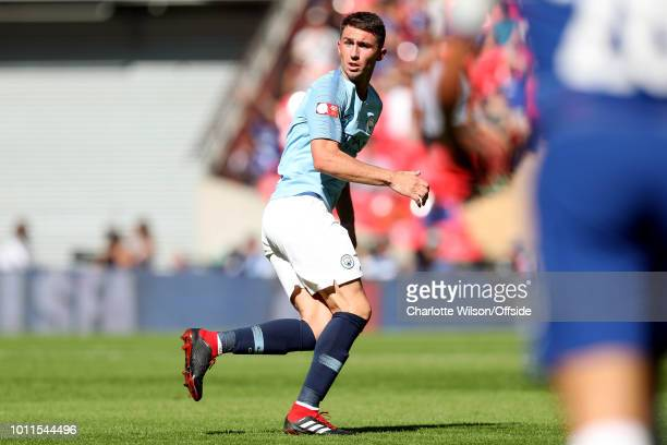 Aymeric Laporte of Man City during the FA Community Shield match between Manchester City and Chelsea at Wembley Stadium on August 5 2018 in London...