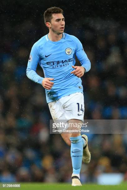 Aymeric Laporte of Man City in action during the Premier League match between Manchester City and West Bromwich Albion at the Etihad Stadium on...