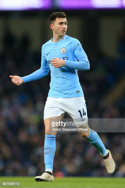 Aymeric Laporte of Man City in action during the Premier League match between Manchester City and Chelsea at the Etihad Stadium on March 4 2018 in...