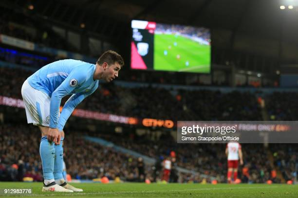 Aymeric Laporte of Man City looks on during the Premier League match between Manchester City and West Bromwich Albion at the Etihad Stadium on...