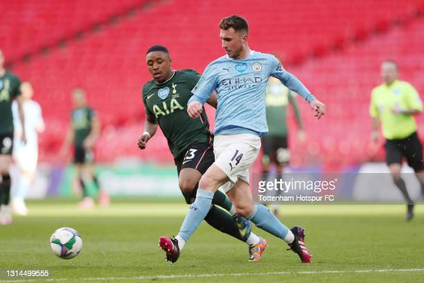 Aymeric Laporte of Manchester City and Steven Bergwijn of Tottenham Hotspur during the Carabao Cup final match between Manchester City and Tottenham...