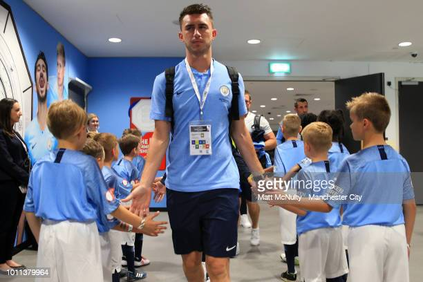 Aymeric Laporte of Manchester City arrives at the stadium prior to the FA Community Shield between Manchester City and Chelsea at Wembley Stadium on...