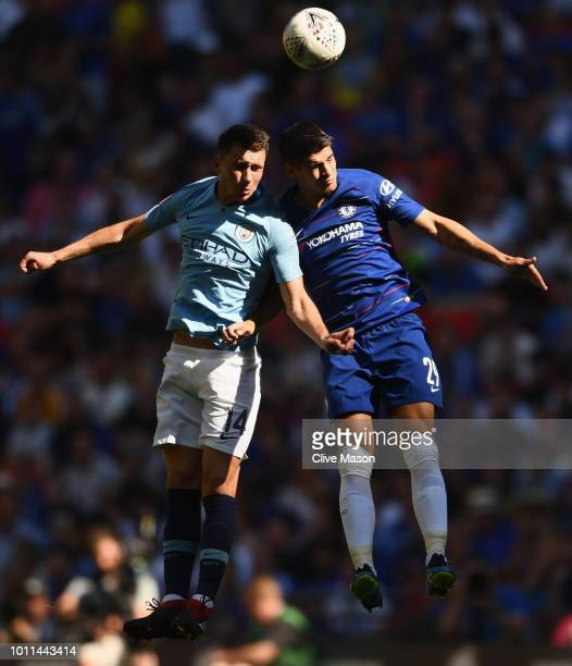 Aymeric Laporte of Manchester City battles for the ball in the air with Alvaro Morata of Chelsea during the FA Community Shield between Manchester...