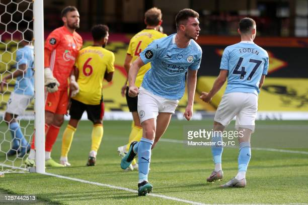 Aymeric Laporte of Manchester City celebrates after he scores his sides 4th goal during the Premier League match between Watford FC and Manchester...