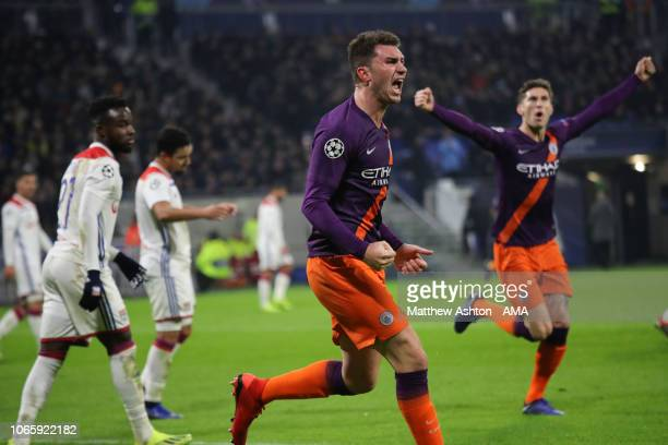 Aymeric Laporte of Manchester City celebrates after scoring a goal to make it 11 during the Group F match of the UEFA Champions League between...