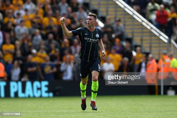 Aymeric Laporte of Manchester City celebrates after scoring his sides first goal during the Premier League match between Wolverhampton Wanderers and...