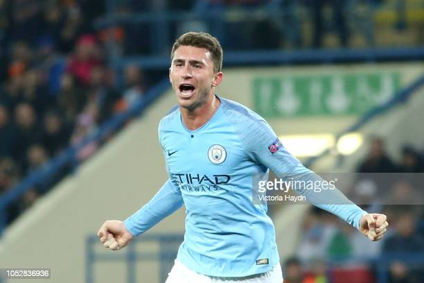 Aymeric Laporte of Manchester City celebrates after scoring his team's second goal during the Group F match of the UEFA Champions League between FC...