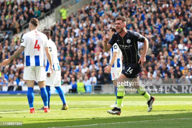 Aymeric Laporte of Manchester City celebrates after scoring his team's second goal during the Premier League match between Brighton Hove Albion and...