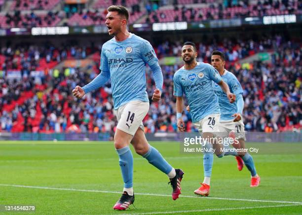 Aymeric Laporte of Manchester City celebrates after scoring his teams first goal during the Carabao Cup Final between Manchester City and Tottenham...