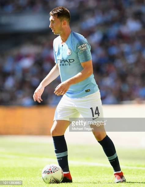 Aymeric Laporte of Manchester City controls the ball during the FA Community Shield between Manchester City and Chelsea at Wembley Stadium on August...