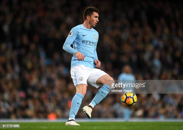 Aymeric Laporte of Manchester City controls the ball during the Premier League match between Manchester City and West Bromwich Albion at Etihad...