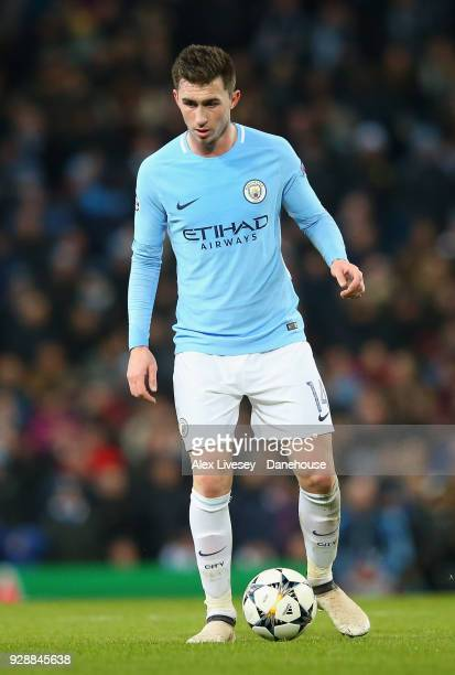 Aymeric Laporte of Manchester City controls the ball during the UEFA Champions League Round of 16 Second Leg match between Manchester City and FC...