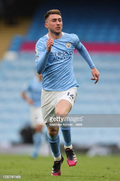Aymeric Laporte of Manchester City during the Premier League match between Manchester City and Chelsea at Etihad Stadium on May 8, 2021 in...