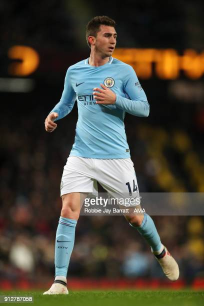 Aymeric Laporte of Manchester City during the Premier League match between Manchester City and West Bromwich Albion at Etihad Stadium on January 31...