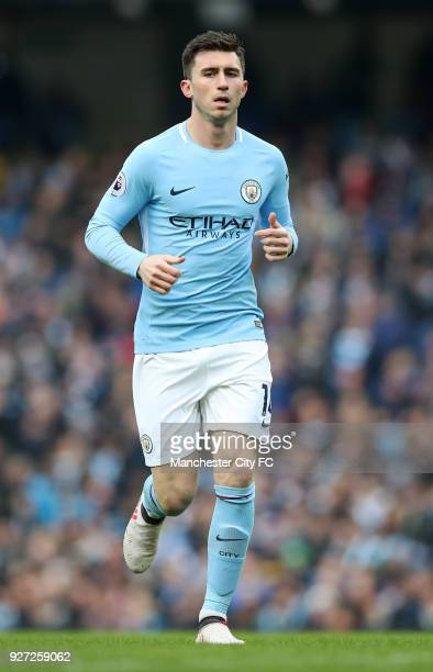 Aymeric Laporte of Manchester City during the Premier League match between Manchester City and Chelsea at Etihad Stadium on March 4 2018 in...