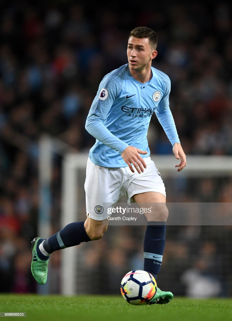 Aymeric Laporte of Manchester City during the Premier League match between Manchester City and Brighton and Hove Albion at Etihad Stadium on May 9, 2018 in Manchester, England.