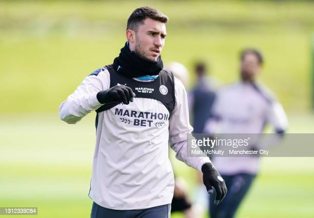Aymeric Laporte of Manchester City in action during a training session at Manchester City Football Academy on April 13, 2021 in Manchester, England.