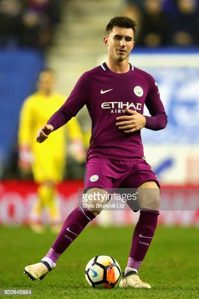 Aymeric Laporte of Manchester City in action during the Emirates FA Cup Fifth Round match between Wigan Athletic and Manchester City at DW Stadium on...