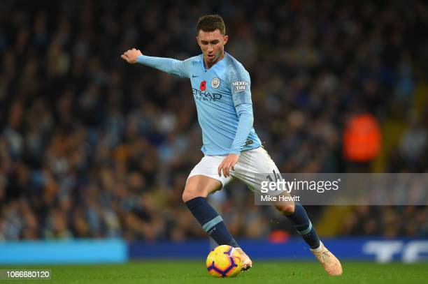 Aymeric Laporte of Manchester City in action during the Premier League match between Manchester City and Manchester United at Etihad Stadium on...