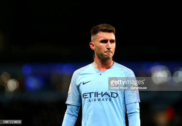 Aymeric Laporte of Manchester City in action during the Premier League match between Manchester City FC and AFC Bournemouth at Etihad Stadium on...