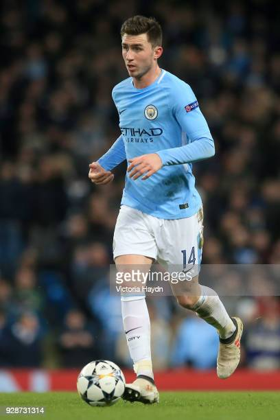 Aymeric Laporte of Manchester City in action during the UEFA Champions League Round of 16 Second Leg match between Manchester City and FC Basel at...