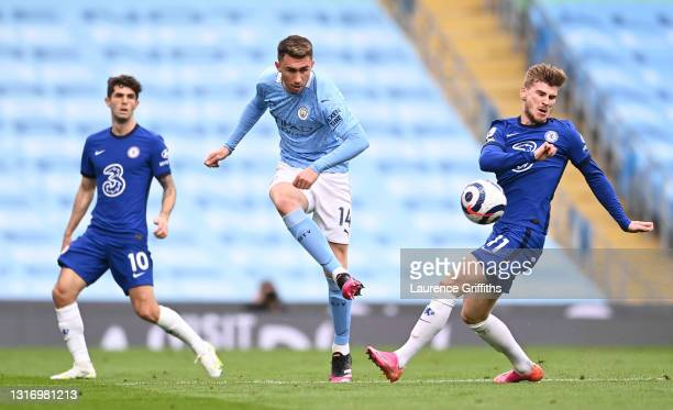 Aymeric Laporte of Manchester City is closed down by Timo Werner of Chelsea during the Premier League match between Manchester City and Chelsea at...
