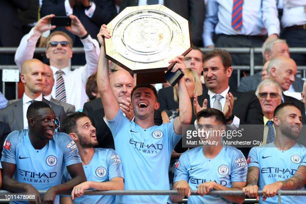 Aymeric Laporte of Manchester City lifts FA Community Shield Trophy following his sides victory in the FA Community Shield between Manchester City...