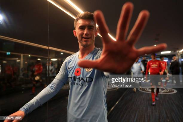 Aymeric Laporte of Manchester City looks on as he walks down the tunnel after the Premier League match between Manchester City and Manchester United...