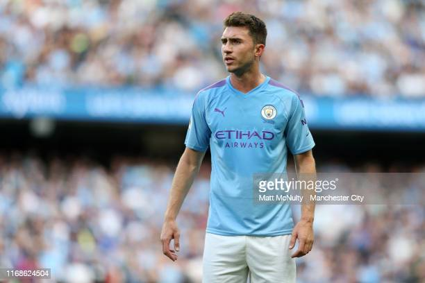 Aymeric Laporte of Manchester City looks on during the Premier League match between Manchester City and Tottenham Hotspur at Etihad Stadium on August...
