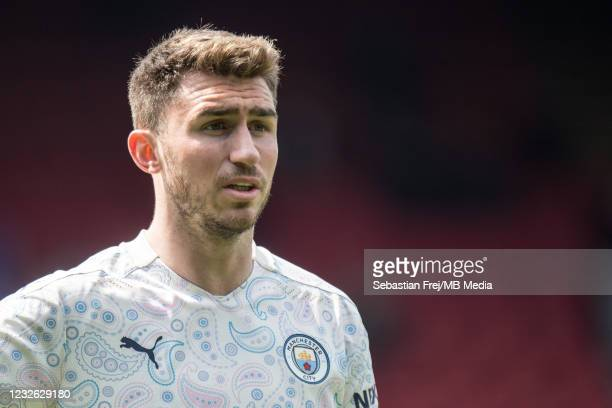 Aymeric Laporte of Manchester City looks on during the Premier League match between Crystal Palace and Manchester City at Selhurst Park on May 1,...