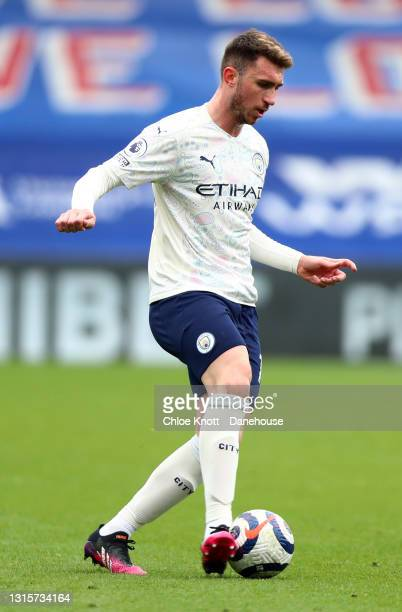 Aymeric Laporte of Manchester City looks on during the Premier League match between Crystal Palace and Manchester City at Selhurst Park on May 01,...