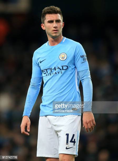Aymeric Laporte of Manchester City looks on during the Premier League match between Manchester City and West Bromwich Albion at Etihad Stadium on...