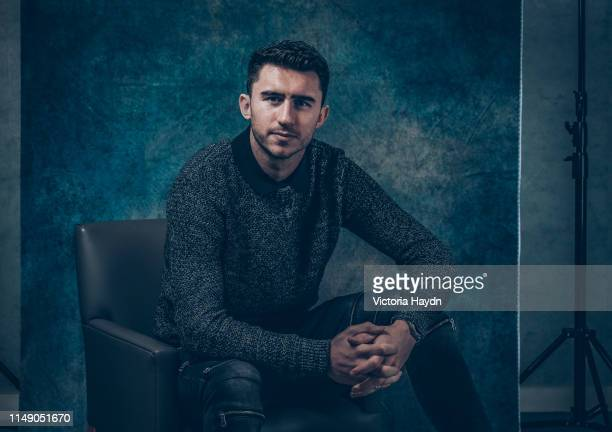 Aymeric Laporte of Manchester City pose during a portrait shoot on January 30 2019 in Manchester England