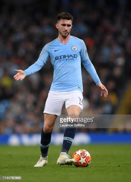 Aymeric Laporte of Manchester City runs on the ball during the UEFA Champions League Quarter Final second leg match between Manchester City and...