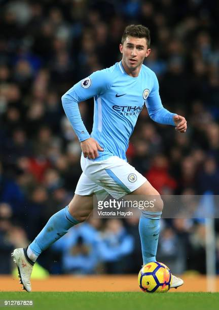 Aymeric Laporte of Manchester City runs with the ball during the Premier League match between Manchester City and West Bromwich Albion at Etihad...
